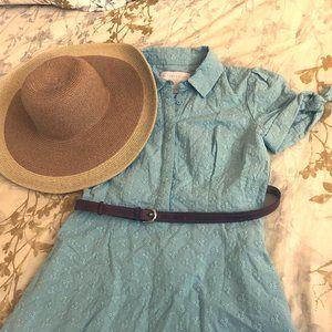Gal Meets Glam Blue Judith Eyelet Midi Dress